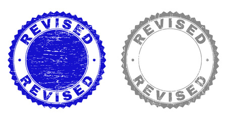 Grunge REVISED stamp seals isolated on a white background. Rosette seals with distress texture in blue and gray colors. Vector rubber stamp imitation of REVISED title inside round rosette. Ilustração
