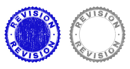 Grunge REVISION stamp seals isolated on a white background. Rosette seals with grunge texture in blue and grey colors. Vector rubber stamp imitation of REVISION tag inside round rosette. Illustration