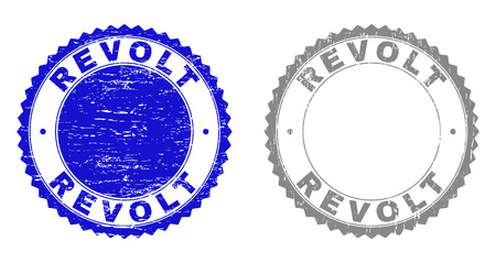 Grunge REVOLT stamps isolated on a white background. Rosette seals with grunge texture in blue and grey colors. Vector rubber stamp imprint of REVOLT title inside round rosette.