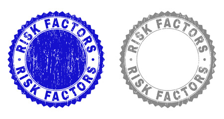 Grunge RISK FACTORS stamp seals isolated on a white background. Rosette seals with distress texture in blue and grey colors. Vector rubber stamp imitation of RISK FACTORS title inside round rosette.