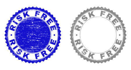 Grunge RISK FREE stamp seals isolated on a white background. Rosette seals with grunge texture in blue and gray colors. Vector rubber stamp imitation of RISK FREE caption inside round rosette.