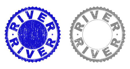 Grunge RIVER stamp seals isolated on a white background. Rosette seals with grunge texture in blue and gray colors. Vector rubber stamp imprint of RIVER title inside round rosette.