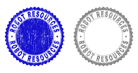 Grunge ROBOT RESOURCES stamp seals isolated on a white background. Rosette seals with grunge texture in blue and gray colors.
