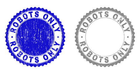 Grunge ROBOTS ONLY watermarks isolated on a white background. Rosette seals with grunge texture in blue and grey colors. Vector rubber stamp imprint of ROBOTS ONLY title inside round rosette.