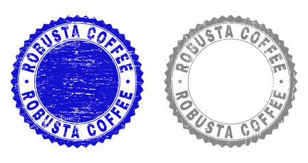 Grunge ROBUSTA COFFEE stamp seals isolated on a white background. Rosette seals with grunge texture in blue and grey colors. Vector rubber stamp imprint of ROBUSTA COFFEE tag inside round rosette.
