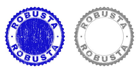 Grunge ROBUSTA stamp seals isolated on a white background. Rosette seals with grunge texture in blue and grey colors. Vector rubber stamp imitation of ROBUSTA tag inside round rosette.