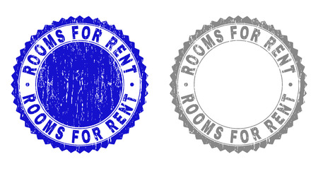 Grunge ROOMS FOR RENT stamp seals isolated on a white background. Rosette seals with distress texture in blue and gray colors.