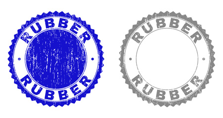 Grunge RUBBER stamps isolated on a white background. Rosette seals with grunge texture in blue and gray colors. Vector rubber stamp imprint of RUBBER text inside round rosette.