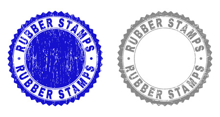 Grunge RUBBER STAMPS isolated on a white background. Rosette seals with grunge texture in blue and grey colors. Vector rubber stamp imprint of RUBBER STAMPS label inside round rosette.