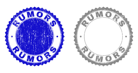Grunge RUMORS stamp seals isolated on a white background. Rosette seals with grunge texture in blue and gray colors. Vector rubber stamp imitation of RUMORS text inside round rosette.