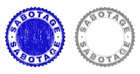 Grunge SABOTAGE stamp seals isolated on a white background. Rosette seals with grunge texture in blue and grey colors. Vector rubber stamp imitation of SABOTAGE text inside round rosette.