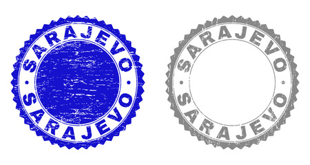 Grunge SARAJEVO stamp seals isolated on a white background. Rosette seals with grunge texture in blue and gray colors. Vector rubber stamp imitation of SARAJEVO tag inside round rosette.