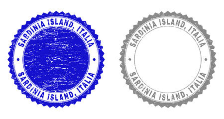 Grunge SARDINIA ISLAND, ITALIA stamp seals isolated on a white background. Rosette seals with grunge texture in blue and gray colors. Vector rubber stamp imprint of SARDINIA ISLAND,
