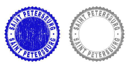 Grunge SAINT PETERSBURG stamp seals isolated on a white background. Rosette seals with distress texture in blue and grey colors. 矢量图像
