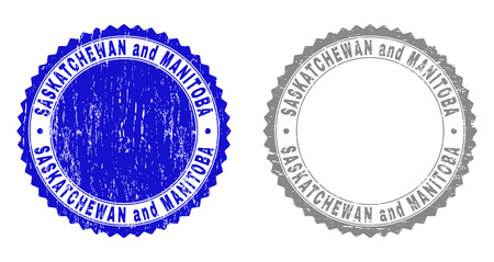 Grunge SASKATCHEWAN AND MANITOBA stamp seals isolated on a white background. Rosette seals with grunge texture in blue and grey colors.