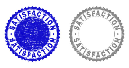 Grunge SATISFACTION stamp seals isolated on a white background. Rosette seals with distress texture in blue and grey colors. Vector rubber stamp imitation of SATISFACTION text inside round rosette.