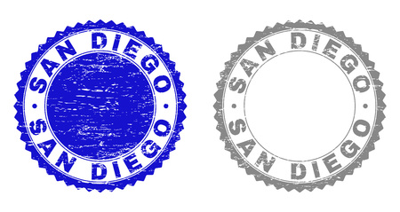 Grunge SAN DIEGO stamp seals isolated on a white background. Rosette seals with grunge texture in blue and grey colors. Vector rubber stamp imitation of SAN DIEGO label inside round rosette. Illusztráció