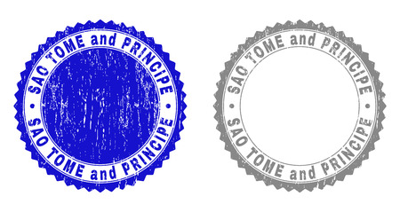 Grunge SAO TOME AND PRINCIPE stamp seals isolated on a white background. Rosette seals with distress texture in blue and gray colors.