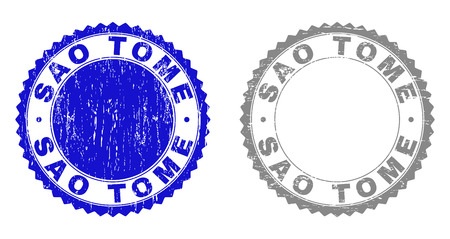 Grunge SAO TOME stamp seals isolated on a white background. Rosette seals with grunge texture in blue and grey colors. Vector rubber stamp imitation of SAO TOME label inside round rosette.