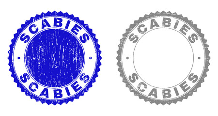 Grunge SCABIES stamp seals isolated on a white background. Rosette seals with grunge texture in blue and grey colors. Vector rubber overlay of SCABIES label inside round rosette.