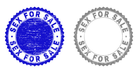 Grunge SEX FOR SALE stamp seals isolated on a white background. Rosette seals with distress texture in blue and gray colors. Vector rubber stamp imitation of SEX FOR SALE title inside round rosette.