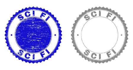 Grunge SCI FI stamp seals isolated on a white background. Rosette seals with distress texture in blue and gray colors. Vector rubber stamp imprint of SCI FI caption inside round rosette.