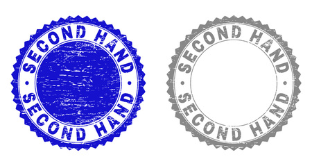 Grunge SECOND HAND stamp seals isolated on a white background. Rosette seals with grunge texture in blue and gray colors. Vector rubber watermark of SECOND HAND title inside round rosette. Stock Illustratie