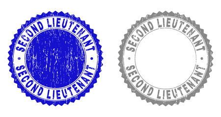 Grunge SECOND LIEUTENANT stamp seals isolated on a white background. Rosette seals with grunge texture in blue and grey colors.