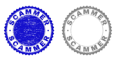 Grunge SCAMMER stamp seals isolated on a white background. Rosette seals with grunge texture in blue and grey colors. Vector rubber watermark of SCAMMER tag inside round rosette.