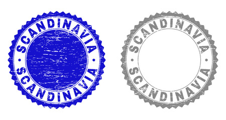 Grunge SCANDINAVIA stamp seals isolated on a white background. Rosette seals with grunge texture in blue and gray colors. Vector rubber stamp imitation of SCANDINAVIA caption inside round rosette.  イラスト・ベクター素材