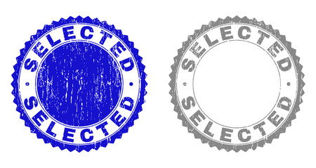 Grunge SELECTED stamp seals isolated on a white background. Rosette seals with distress texture in blue and gray colors. Vector rubber stamp imitation of SELECTED text inside round rosette.