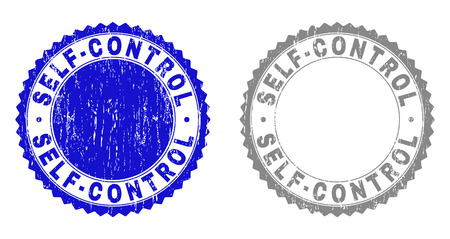 Grunge SELF-CONTROL stamp seals isolated on a white background. Rosette seals with distress texture in blue and gray colors. Vector rubber stamp imprint of SELF-CONTROL title inside round rosette.