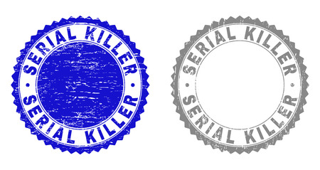 Grunge SERIAL KILLER stamp seals isolated on a white background. Rosette seals with grunge texture in blue and gray colors. Vector rubber stamp imprint of SERIAL KILLER tag inside round rosette.