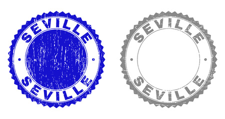 Grunge SEVILLE stamp seals isolated on a white background. Rosette seals with grunge texture in blue and gray colors. Vector rubber stamp imitation of SEVILLE tag inside round rosette. Иллюстрация