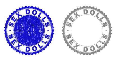 Grunge SEX DOLLS stamp seals isolated on a white background. Rosette seals with grunge texture in blue and grey colors. Vector rubber stamp imprint of SEX DOLLS text inside round rosette.