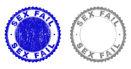 Grunge SEX FAIL stamp seals isolated on a white background. Rosette seals with grunge texture in blue and gray colors. Vector rubber stamp imprint of SEX FAIL label inside round rosette.