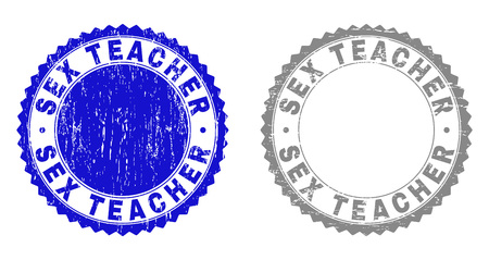 Grunge SEX TEACHER stamp seals isolated on a white background. Rosette seals with grunge texture in blue and grey colors. Vector rubber watermark of SEX TEACHER caption inside round rosette.