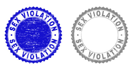Grunge SEX VIOLATION stamp seals isolated on a white background. Rosette seals with distress texture in blue and gray colors. Vector rubber stamp imitation of SEX VIOLATION title inside round rosette.