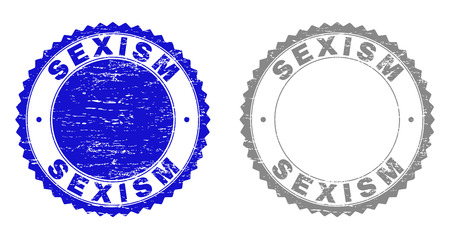 Grunge SEXISM stamp seals isolated on a white background. Rosette seals with grunge texture in blue and grey colors. Vector rubber stamp imprint of SEXISM label inside round rosette. Illustration