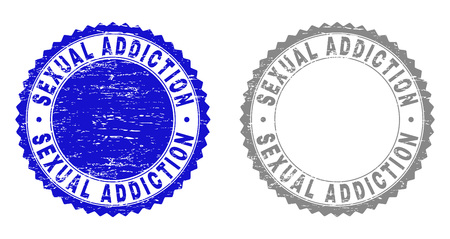 Grunge SEXUAL ADDICTION stamp seals isolated on a white background. Rosette seals with grunge texture in blue and gray colors.