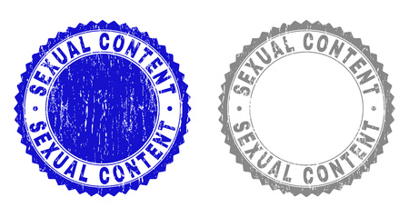 Grunge SEXUAL CONTENT stamp seals isolated on a white background. Rosette seals with distress texture in blue and grey colors. Vector rubber stamp imprint of SEXUAL CONTENT label inside round rosette.  イラスト・ベクター素材