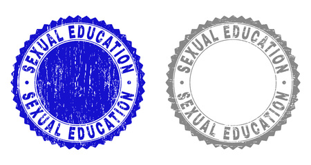 Grunge SEXUAL EDUCATION stamp seals isolated on a white background. Rosette seals with distress texture in blue and gray colors.