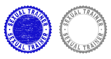 Grunge SEXUAL TRAINER stamp seals isolated on a white background. Rosette seals with distress texture in blue and gray colors. Vector rubber stamp imprint of SEXUAL TRAINER text inside round rosette.