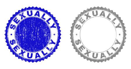 Grunge SEXUALLY stamp seals isolated on a white background. Rosette seals with grunge texture in blue and grey colors. Vector rubber stamp imprint of SEXUALLY tag inside round rosette.