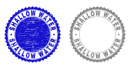 Grunge SHALLOW WATER stamp seals isolated on a white background. Rosette seals with grunge texture in blue and gray colors. Vector rubber stamp imitation of SHALLOW WATER title inside round rosette.