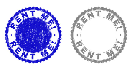 Grunge RENT ME! stamp seals isolated on a white background. Rosette seals with distress texture in blue and gray colors. Vector rubber stamp imitation of RENT ME! label inside round rosette.