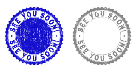 Grunge SEE YOU SOON! stamp seals isolated on a white background. Rosette seals with grunge texture in blue and gray colors. Vector rubber stamp imprint of SEE YOU SOON! text inside round rosette.