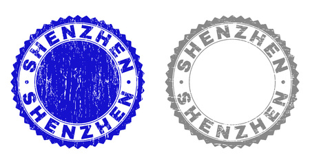 Grunge SHENZHEN stamps isolated on a white background. Rosette seals with grunge texture in blue and grey colors. Vector rubber stamp imprint of SHENZHEN title inside round rosette. 일러스트