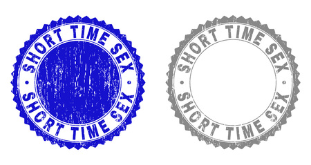 Grunge SHORT TIME SEX watermarks isolated on a white background. Rosette seals with grunge texture in blue and grey colors. Vector rubber stamp imprint of SHORT TIME SEX label inside round rosette.