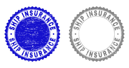 Grunge SHIP INSURANCE stamp seals isolated on a white background. Rosette seals with grunge texture in blue and gray colors. Vector rubber overlay of SHIP INSURANCE tag inside round rosette. Иллюстрация